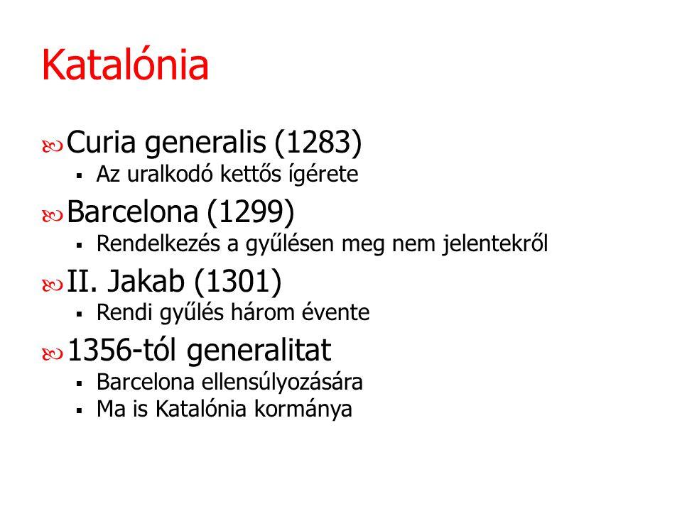Katalónia Curia generalis (1283)  Az uralkodó kettős ígérete Barcelona (1299)  Rendelkezés a gyűlésen meg nem jelentekről II. Jakab (1301)  Rendi g