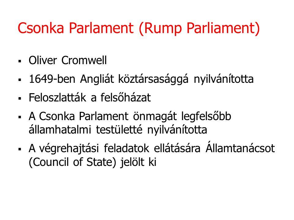 Csonka Parlament (Rump Parliament)  Oliver Cromwell  1649-ben Angliát köztársasággá nyilvánította  Feloszlatták a felsőházat  A Csonka Parlament ö