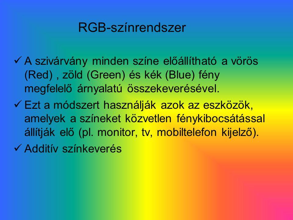 RGB-színrendszer A szivárvány minden színe előállítható a vörös (Red), zöld (Green) és kék (Blue) fény megfelelő árnyalatú összekeverésével.