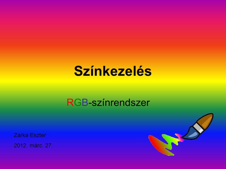 Színkör RGB-színkeverés színköre: zöld vörös kék fehér sárga cián lila cián fehér sárga lilavöröskék zöld