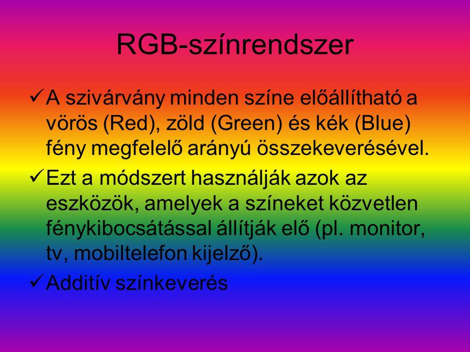 RGB-színrendszer A szivárvány minden színe előállítható a vörös (Red), zöld (Green) és kék (Blue) fény megfelelő arányú összekeverésével.