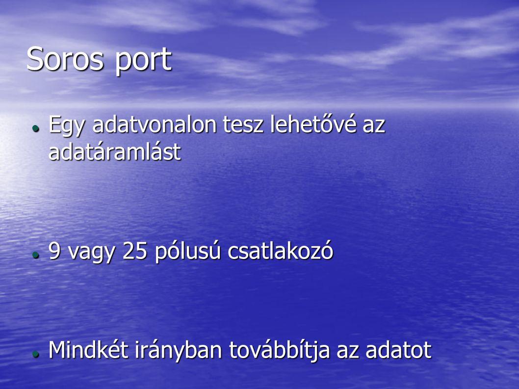 Párhozamos port 8 adatvonal 8 adatvonal 25 vagy 36 pólus 25 vagy 36 pólus A dugón tüskék vannak A dugón tüskék vannak Nyomtatót lehet rá csatlakoztatni Nyomtatót lehet rá csatlakoztatni