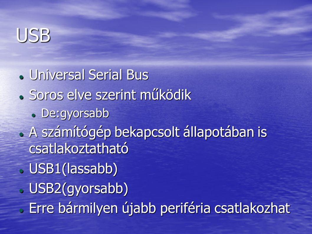 USB Universal Serial Bus Universal Serial Bus Soros elve szerint működik Soros elve szerint működik De:gyorsabb De:gyorsabb A számítógép bekapcsolt ál