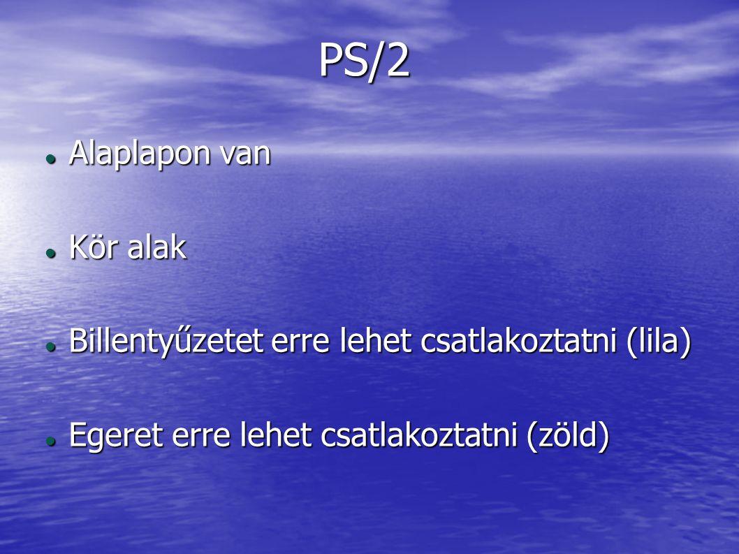 PS/2 Alaplapon van Alaplapon van Kör alak Kör alak Billentyűzetet erre lehet csatlakoztatni (lila) Billentyűzetet erre lehet csatlakoztatni (lila) Ege
