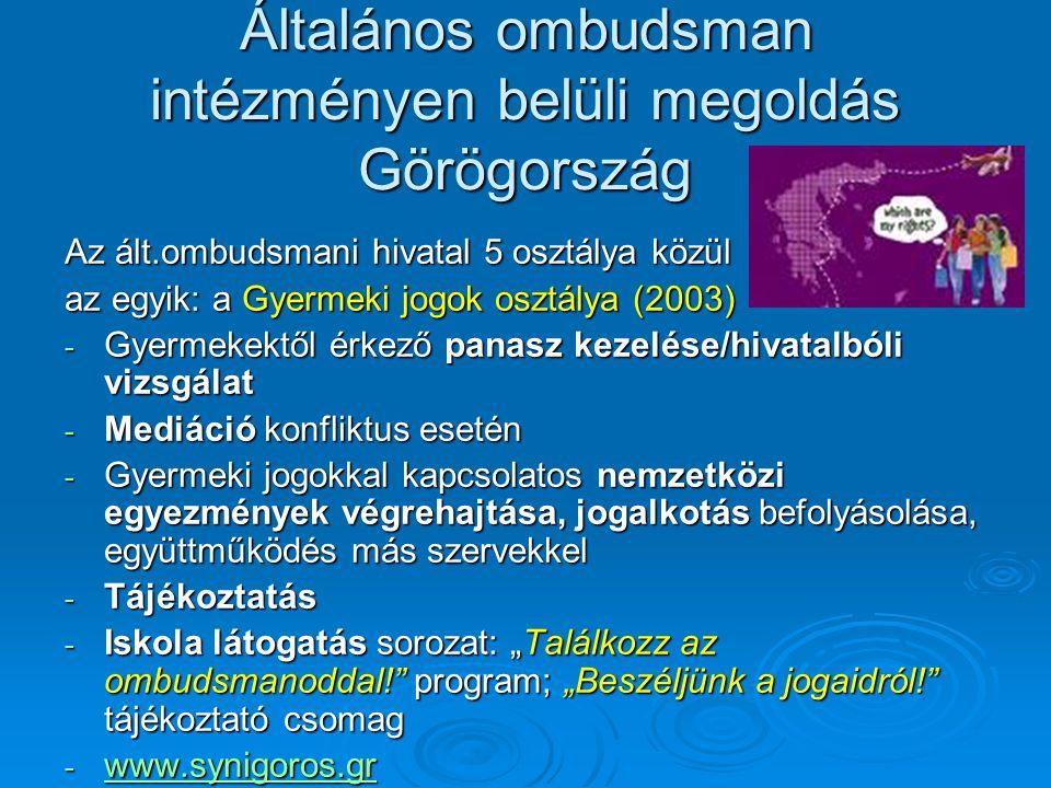 """Általános ombudsman intézményen belüli megoldás Görögország Az ált.ombudsmani hivatal 5 osztálya közül az egyik: a Gyermeki jogok osztálya (2003) - Gyermekektől érkező panasz kezelése/hivatalbóli vizsgálat - Mediáció konfliktus esetén - Gyermeki jogokkal kapcsolatos nemzetközi egyezmények végrehajtása, jogalkotás befolyásolása, együttműködés más szervekkel - Tájékoztatás - Iskola látogatás sorozat: """"Találkozz az ombudsmanoddal! program; """"Beszéljünk a jogaidról! tájékoztató csomag - www.synigoros.gr www.synigoros.gr"""