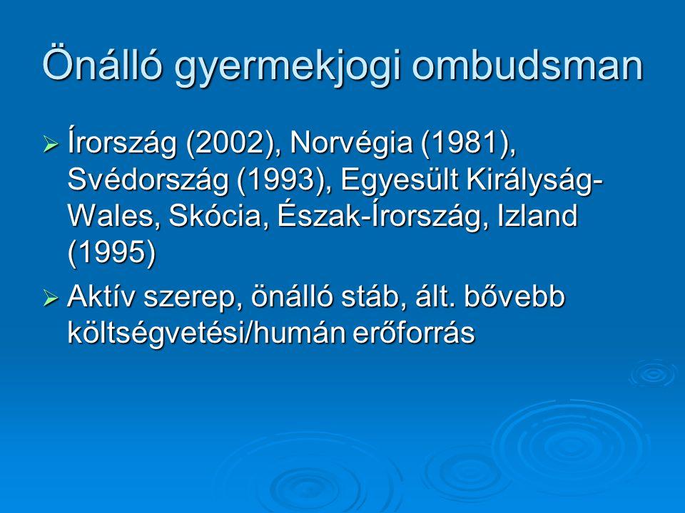 Önálló gyermekjogi ombudsman  Írország (2002), Norvégia (1981), Svédország (1993), Egyesült Királyság- Wales, Skócia, Észak-Írország, Izland (1995)  Aktív szerep, önálló stáb, ált.