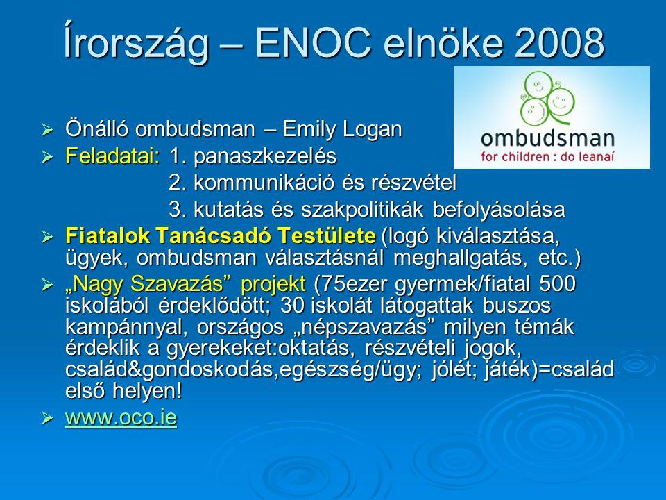 Írország – ENOC elnöke 2008  Önálló ombudsman – Emily Logan  Feladatai: 1.