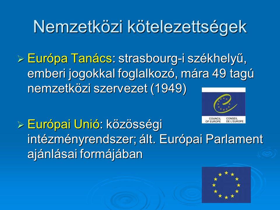 Nemzetközi kötelezettségek  Európa Tanács: strasbourg-i székhelyű, emberi jogokkal foglalkozó, mára 49 tagú nemzetközi szervezet (1949)  Európai Unió: közösségi intézményrendszer; ált.