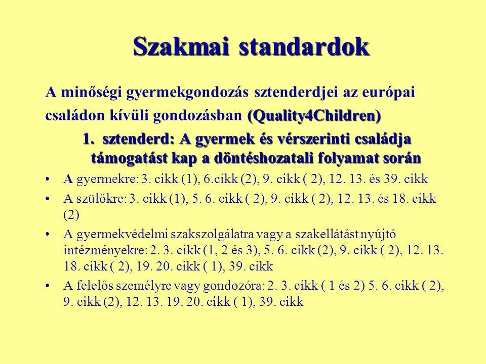 Szakmai standardok A minőségi gyermekgondozás sztenderdjei az európai (Quality4Children) családon kívüli gondozásban (Quality4Children) 1. sztenderd: