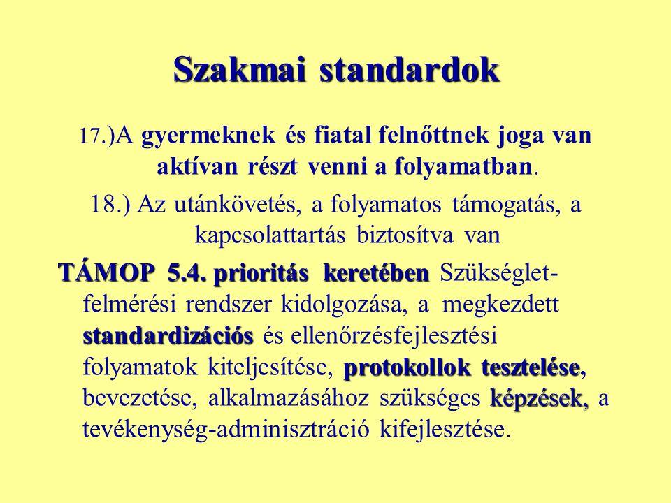 Szakmai standardok 17.)A gyermeknek és fiatal felnőttnek joga van aktívan részt venni a folyamatban. 18.) Az utánkövetés, a folyamatos támogatás, a ka