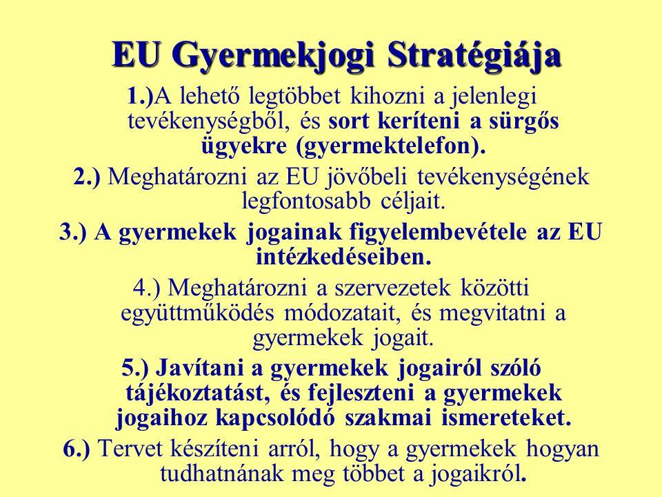 EU Gyermekjogi Stratégiája 1.)A lehető legtöbbet kihozni a jelenlegi tevékenységből, és sort keríteni a sürgős ügyekre (gyermektelefon). 2.) Meghatáro