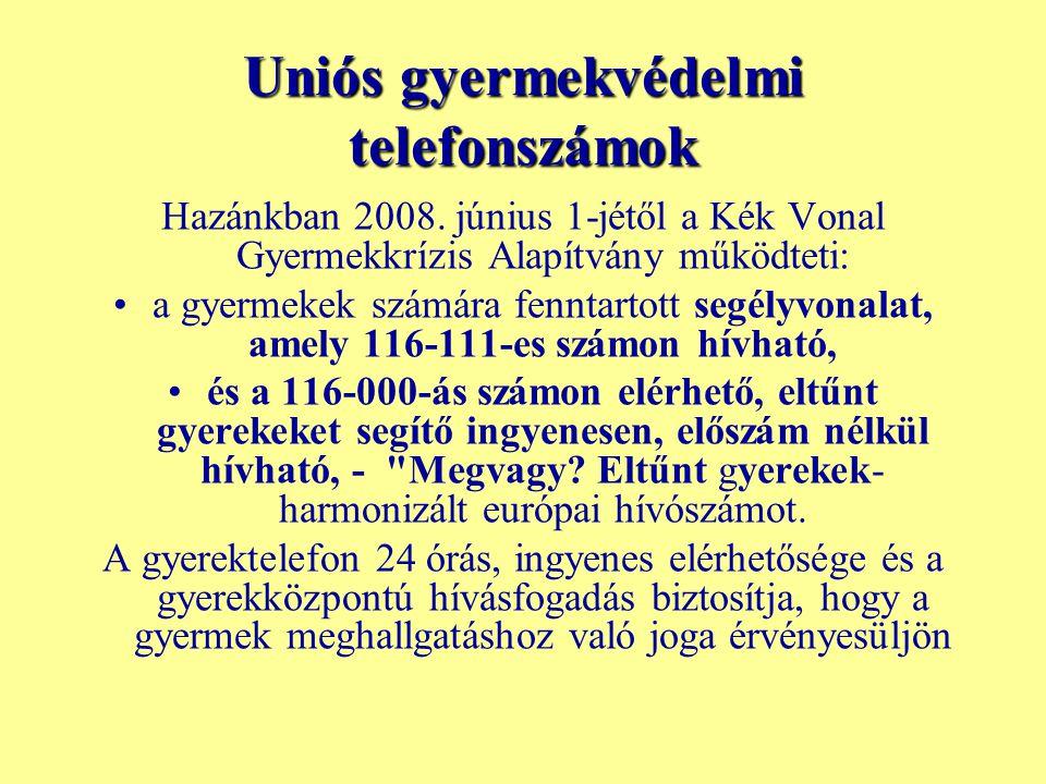 Uniós gyermekvédelmi telefonszámok Hazánkban 2008. június 1-jétől a Kék Vonal Gyermekkrízis Alapítvány működteti: a gyermekek számára fenntartott segé