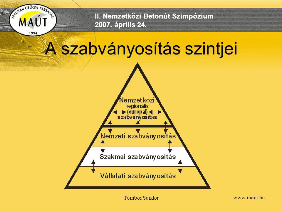 www.maut.hu II. Nemzetközi Betonút Szimpózium 2007. április 24. Tombor Sándor A szabványosítás szintjei