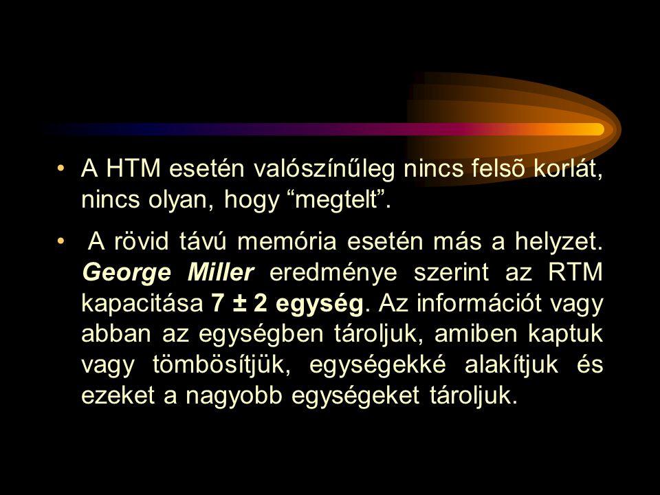 """A HTM esetén valószínűleg nincs felsõ korlát, nincs olyan, hogy """"megtelt"""". A rövid távú memória esetén más a helyzet. George Miller eredménye szerint"""