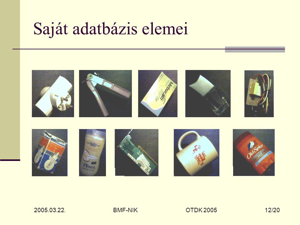 2005.03.22. BMF-NIK OTDK 2005 12/20 Saját adatbázis elemei