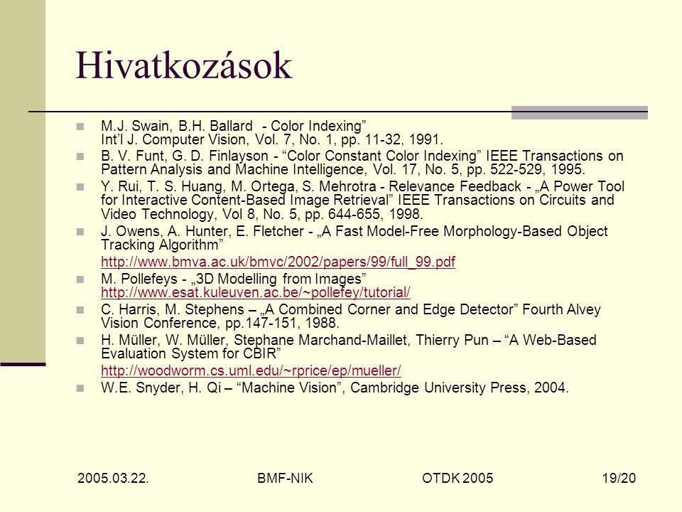 2005.03.22. BMF-NIK OTDK 2005 19/20 Hivatkozások M.J.