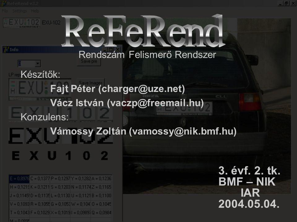 Készítők: Fajt Péter (charger@uze.net) Vácz István (vaczp@freemail.hu) Konzulens: Vámossy Zoltán (vamossy@nik.bmf.hu) Rendszám Felismerő Rendszer 3.