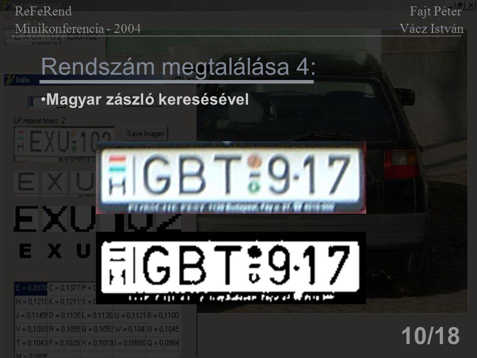 Rendszám megtalálása 4: 10/18 Magyar zászló keresésével ReFeRend Fajt Péter Minikonferencia - 2004 Vácz István