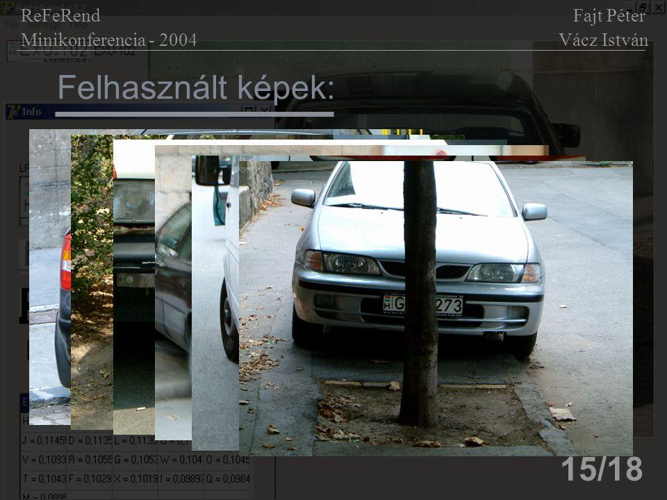 Felhasznált képek: 15/18 ReFeRend Fajt Péter Minikonferencia - 2004 Vácz István