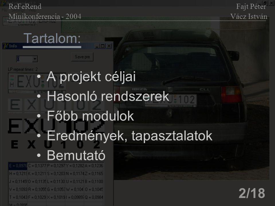 Tartalom: A projekt céljai Hasonló rendszerek Főbb modulok Eredmények, tapasztalatok Bemutató ReFeRend Fajt Péter Minikonferencia - 2004 Vácz István 2/18