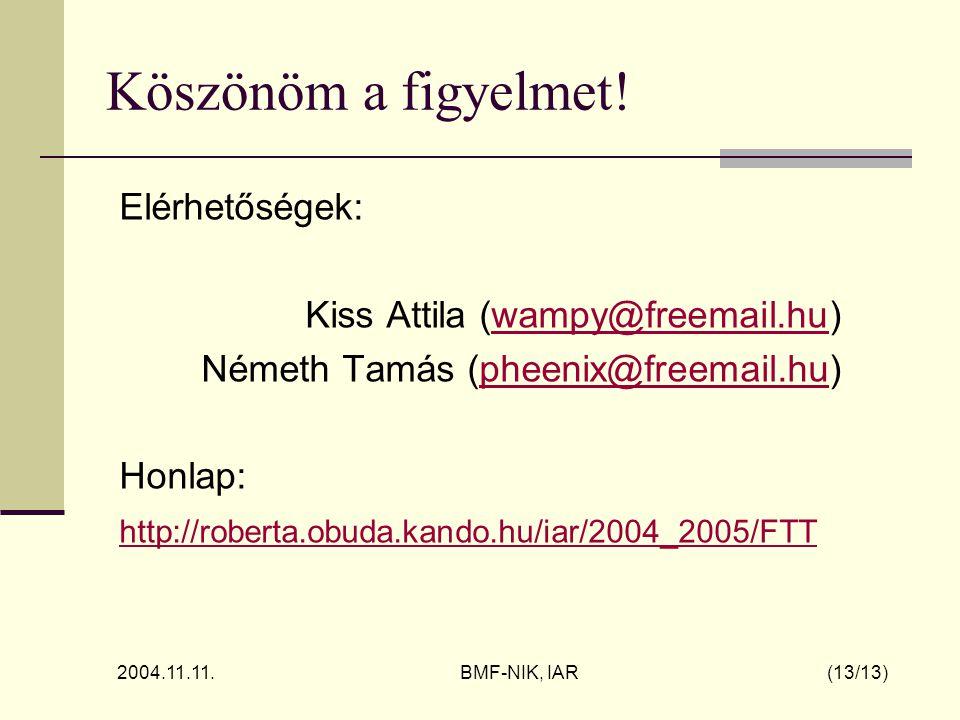 2004.11.11. BMF-NIK, IAR (13/13) Köszönöm a figyelmet.