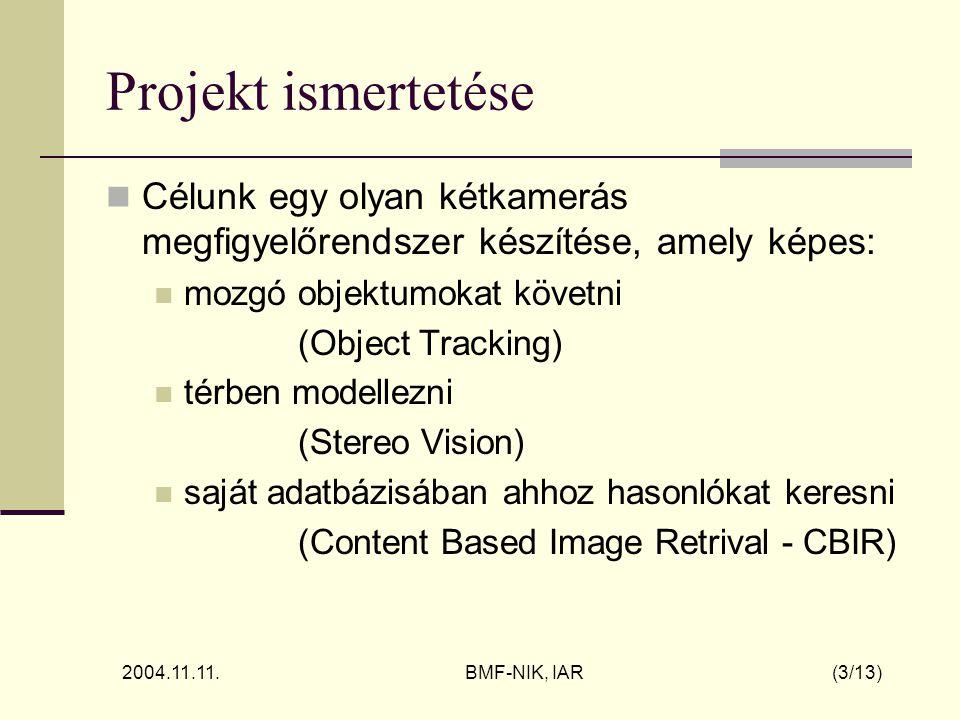2004.11.11. BMF-NIK, IAR (3/13) Projekt ismertetése Célunk egy olyan kétkamerás megfigyelőrendszer készítése, amely képes: mozgó objektumokat követni
