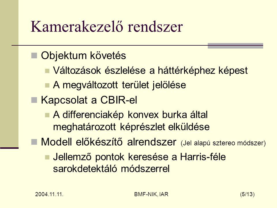 2004.11.11. BMF-NIK, IAR (5/13) Kamerakezelő rendszer Objektum követés Változások észlelése a háttérképhez képest A megváltozott terület jelölése Kapc