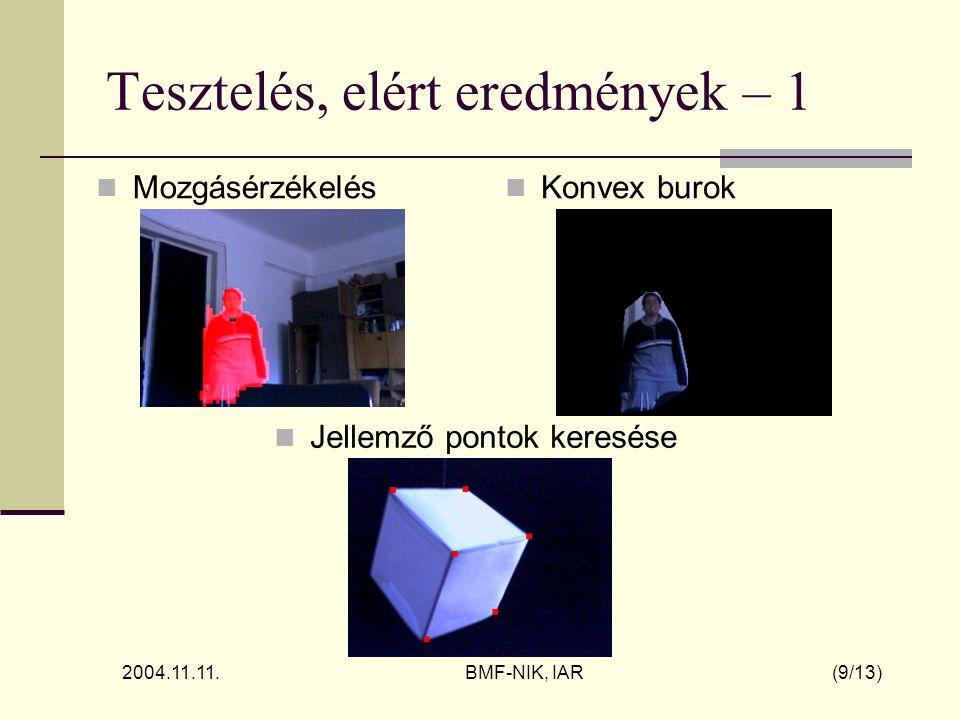 2004.11.11. BMF-NIK, IAR (9/13) Tesztelés, elért eredmények – 1 Mozgásérzékelés Jellemző pontok keresése Konvex burok