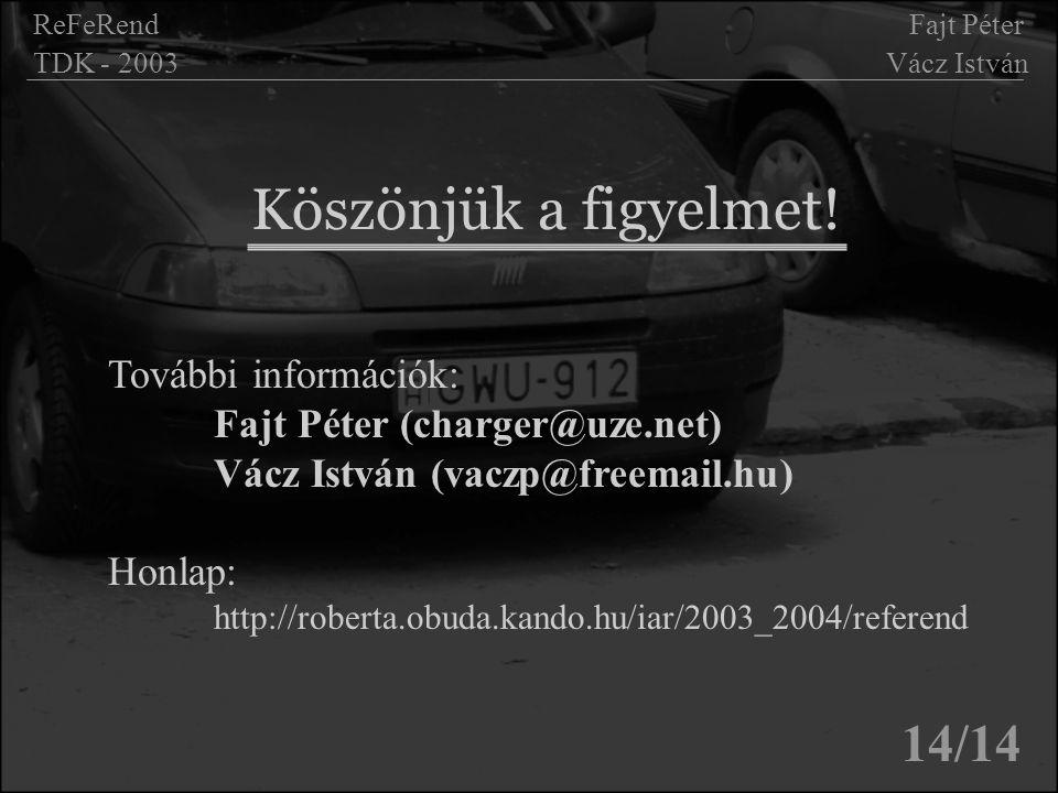 Köszönjük a figyelmet! 14/14 ReFeRend Fajt Péter TDK - 2003 Vácz István További információk: Fajt Péter (charger@uze.net) Vácz István (vaczp@freemail.