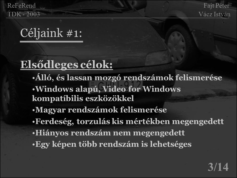 Céljaink #1: 3/14 Elsődleges célok: Álló, és lassan mozgó rendszámok felismerése Windows alapú, Video for Windows kompatíbilis eszközökkel Magyar rend