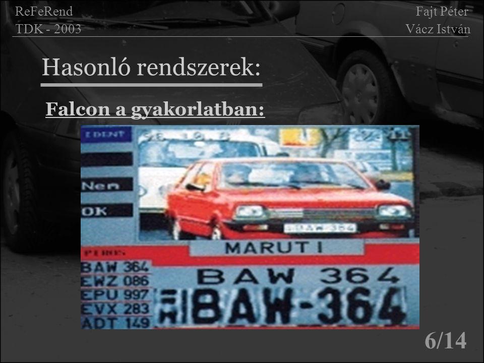 Hasonló rendszerek: 6/14 ReFeRend Fajt Péter TDK - 2003 Vácz István Falcon a gyakorlatban: