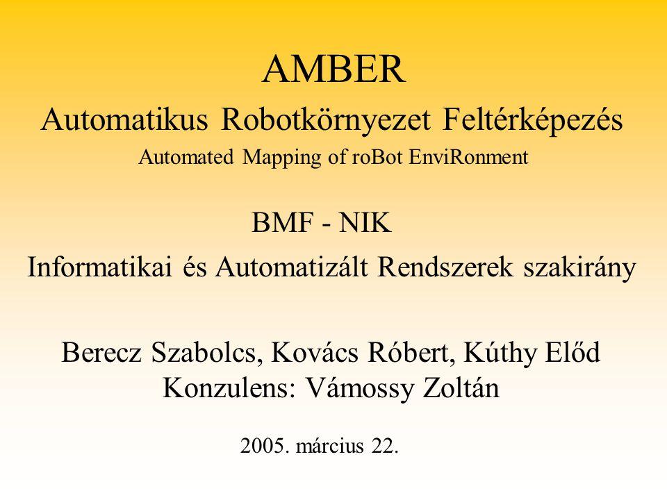 AMBER Informatikai és Automatizált Rendszerek szakirány Berecz Szabolcs, Kovács Róbert, Kúthy Előd Konzulens: Vámossy Zoltán Automated Mapping of roBo