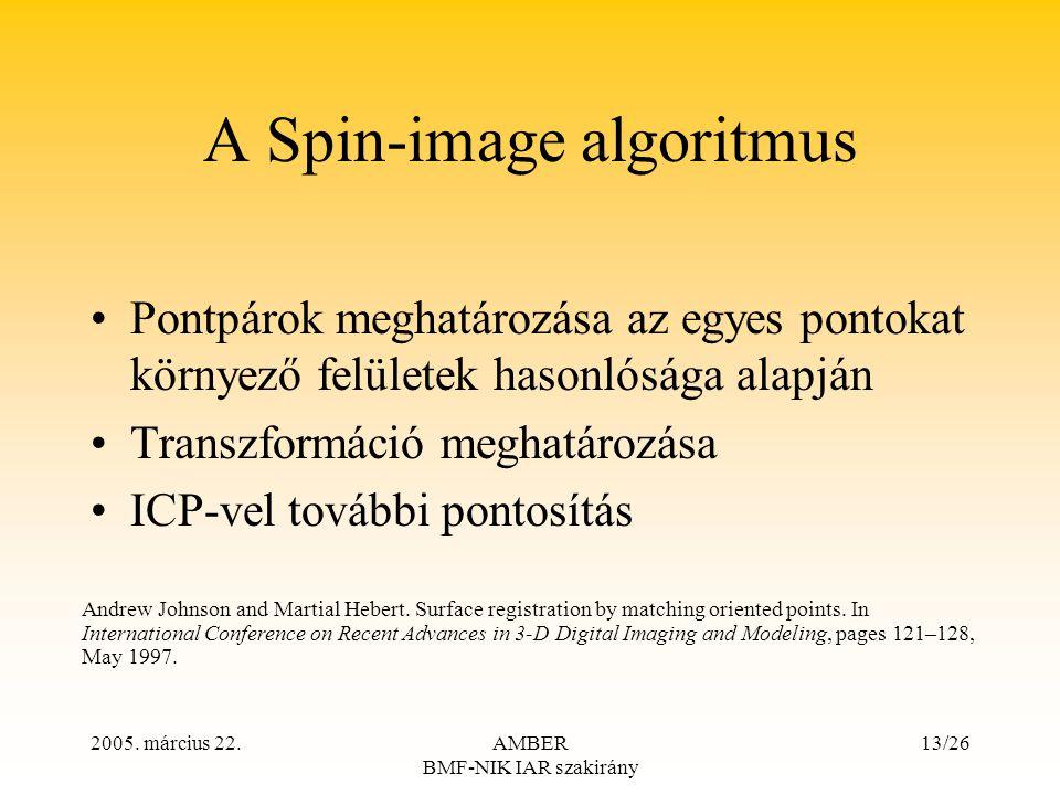 2005. március 22.AMBER BMF-NIK IAR szakirány 13/26 A Spin-image algoritmus Pontpárok meghatározása az egyes pontokat környező felületek hasonlósága al