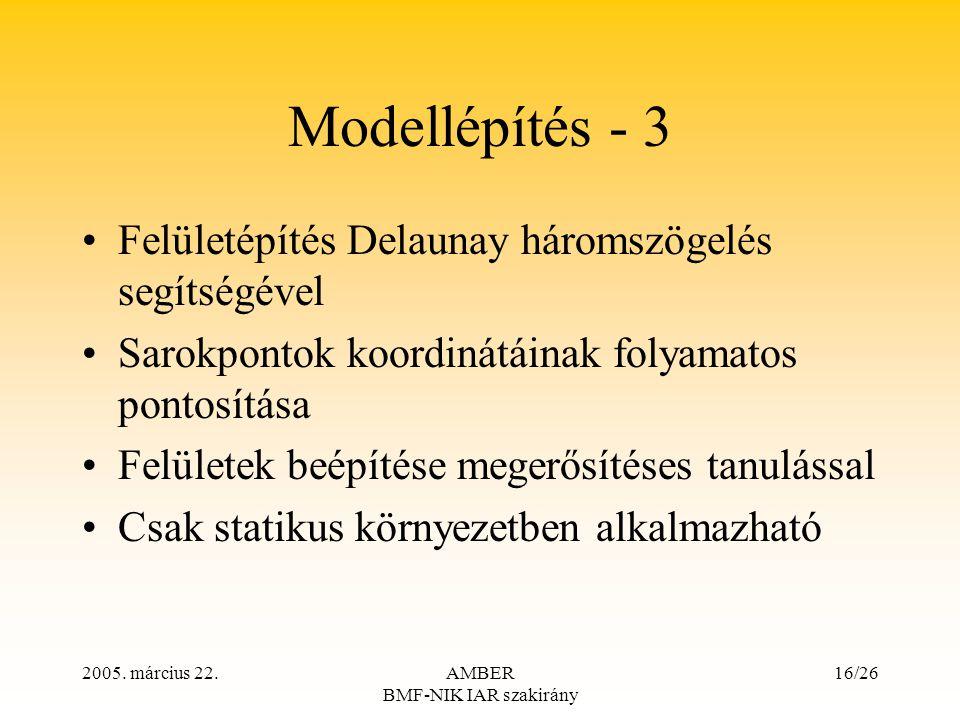 2005. március 22.AMBER BMF-NIK IAR szakirány 16/26 Modellépítés - 3 Felületépítés Delaunay háromszögelés segítségével Sarokpontok koordinátáinak folya