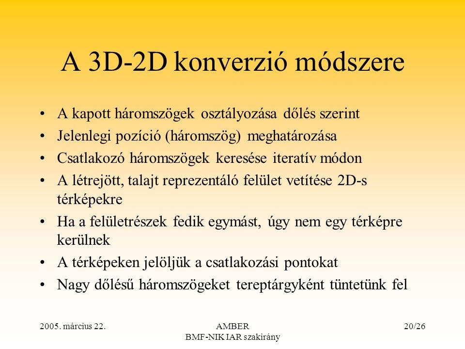 2005. március 22.AMBER BMF-NIK IAR szakirány 20/26 A 3D-2D konverzió módszere A kapott háromszögek osztályozása dőlés szerint Jelenlegi pozíció (három