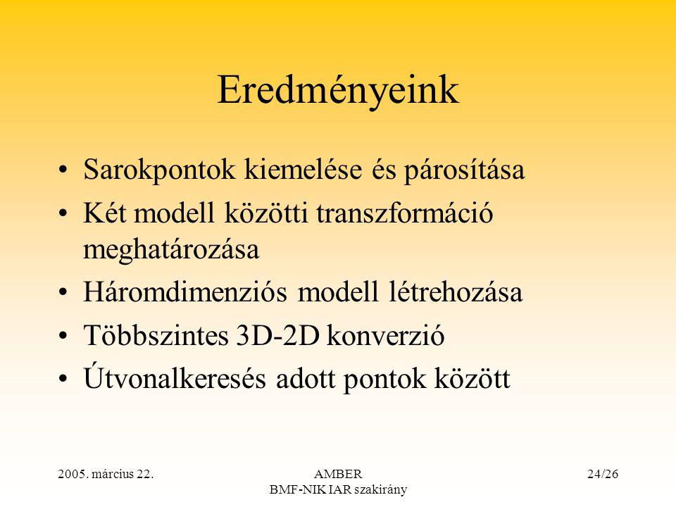 2005. március 22.AMBER BMF-NIK IAR szakirány 24/26 Eredményeink Sarokpontok kiemelése és párosítása Két modell közötti transzformáció meghatározása Há