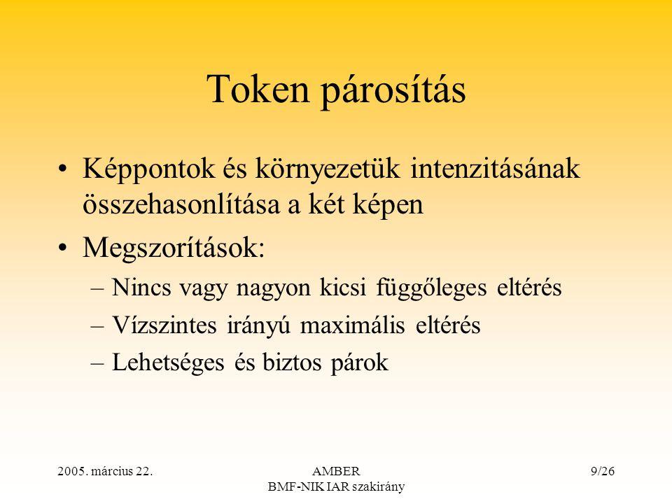 2005. március 22.AMBER BMF-NIK IAR szakirány 9/26 Token párosítás Képpontok és környezetük intenzitásának összehasonlítása a két képen Megszorítások: