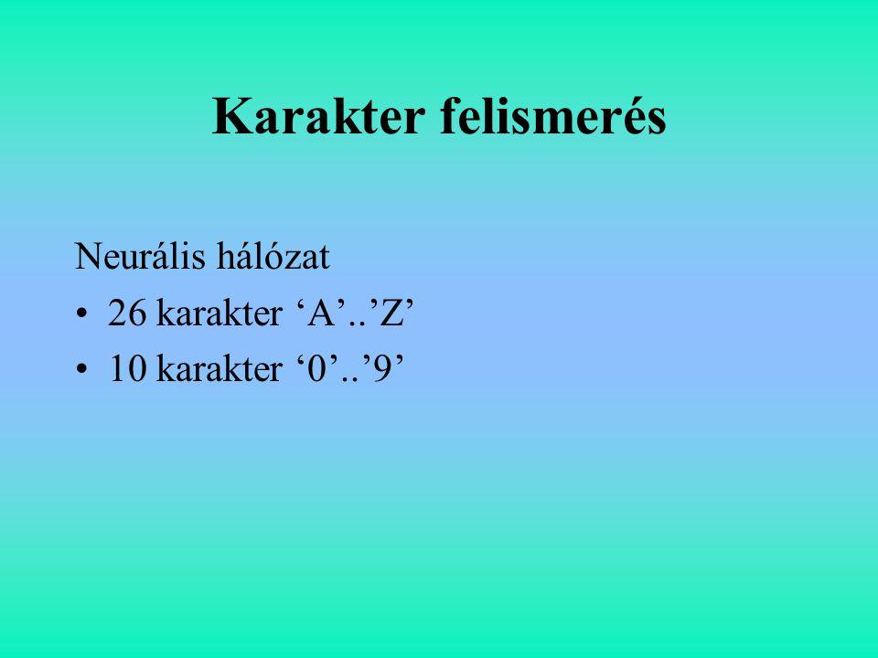 Karakter felismerés Neurális hálózat 26 karakter 'A'..'Z' 10 karakter '0'..'9'