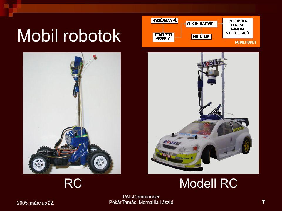 PAL-Commander Pekár Tamás, Mornailla László7 2005. március 22. Mobil robotok RCModell RC