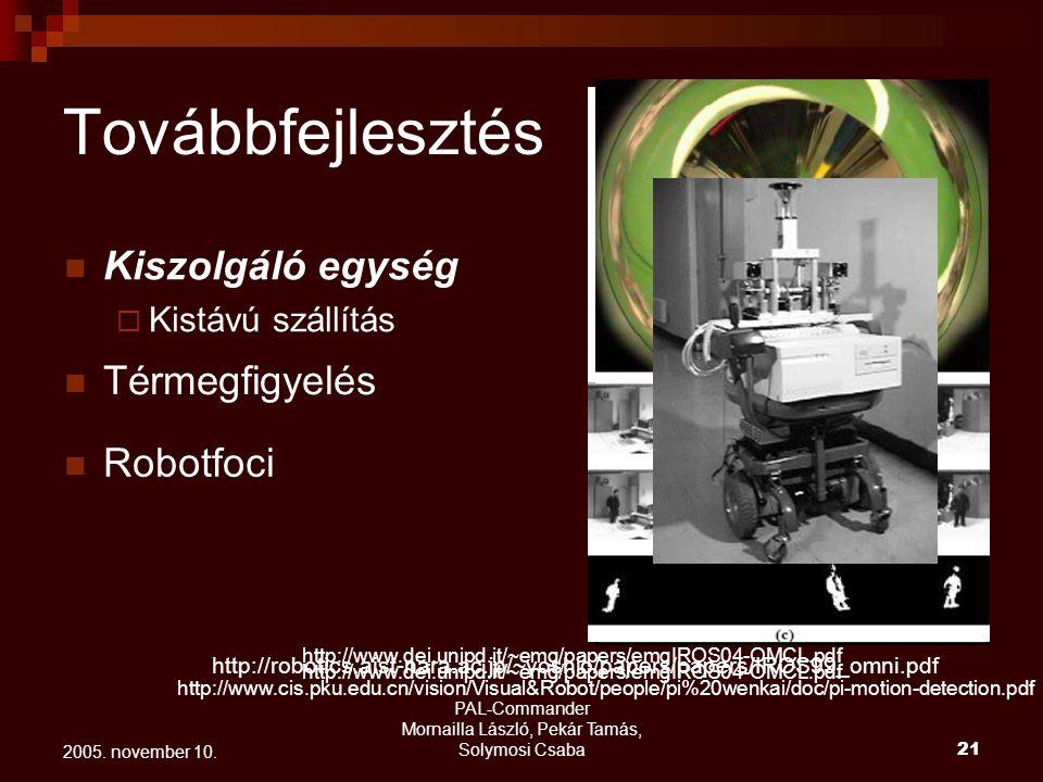 PAL-Commander Mornailla László, Pekár Tamás, Solymosi Csaba 22 2005. november 10. Optical flow