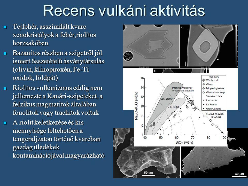 Tejfehér, asszimilált kvarc xenokristályok a fehér,riolitos horzsakőben Tejfehér, asszimilált kvarc xenokristályok a fehér,riolitos horzsakőben Bazanitos részben a szigetről jól ismert összetételű ásványtársulás (olivin, klinopiroxén, Fe-Ti oxidok, földpát) Bazanitos részben a szigetről jól ismert összetételű ásványtársulás (olivin, klinopiroxén, Fe-Ti oxidok, földpát) Riolitos vulkanizmus eddig nem jellemezte a Kanári-szigeteket, a felzikus magmatitok általában fonolitok vagy trachitok voltak Riolitos vulkanizmus eddig nem jellemezte a Kanári-szigeteket, a felzikus magmatitok általában fonolitok vagy trachitok voltak A riolit keletkezése és kis mennyisége feltehetően a tengeraljzaton történő kvarcban gazdag üledékek kontaminációjával magyarázható A riolit keletkezése és kis mennyisége feltehetően a tengeraljzaton történő kvarcban gazdag üledékek kontaminációjával magyarázható Recens vulkáni aktivitás