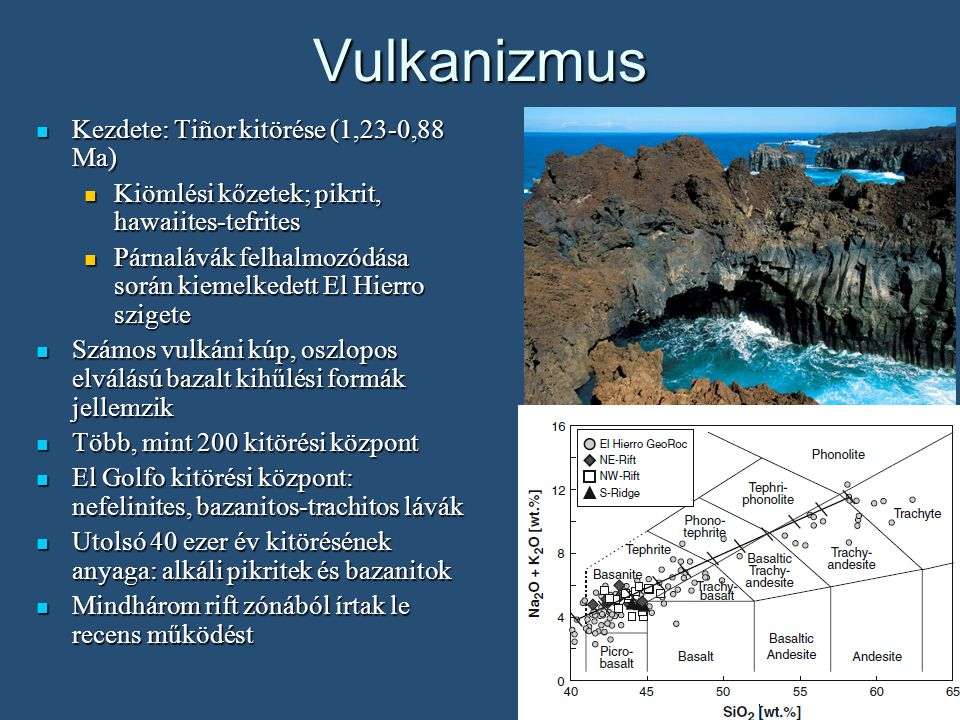 Vulkanizmus Kezdete: Tiñor kitörése (1,23-0,88 Ma) Kezdete: Tiñor kitörése (1,23-0,88 Ma) Kiömlési kőzetek; pikrit, hawaiites-tefrites Kiömlési kőzetek; pikrit, hawaiites-tefrites Párnalávák felhalmozódása során kiemelkedett El Hierro szigete Párnalávák felhalmozódása során kiemelkedett El Hierro szigete Számos vulkáni kúp, oszlopos elválású bazalt kihűlési formák jellemzik Számos vulkáni kúp, oszlopos elválású bazalt kihűlési formák jellemzik Több, mint 200 kitörési központ Több, mint 200 kitörési központ El Golfo kitörési központ: nefelinites, bazanitos-trachitos lávák El Golfo kitörési központ: nefelinites, bazanitos-trachitos lávák Utolsó 40 ezer év kitörésének anyaga: alkáli pikritek és bazanitok Utolsó 40 ezer év kitörésének anyaga: alkáli pikritek és bazanitok Mindhárom rift zónából írtak le recens működést Mindhárom rift zónából írtak le recens működést
