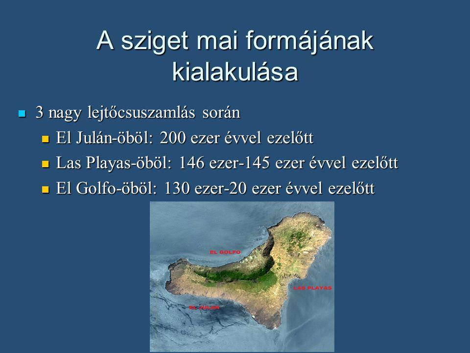 A sziget mai formájának kialakulása A lejtőcsuszamlások oka a terület riftesedése A lejtőcsuszamlások oka a terület riftesedése Ezek a csuszamlások egyenlítik ki azt a gravitációs egyenetlenséget amit a képződő vulkán meredek lejtője okoz Ezek a csuszamlások egyenlítik ki azt a gravitációs egyenetlenséget amit a képződő vulkán meredek lejtője okoz A földcsuszamlások helyén maradó íves öblök pont a 2 riftesedő ág közé esnek, míg a 3.