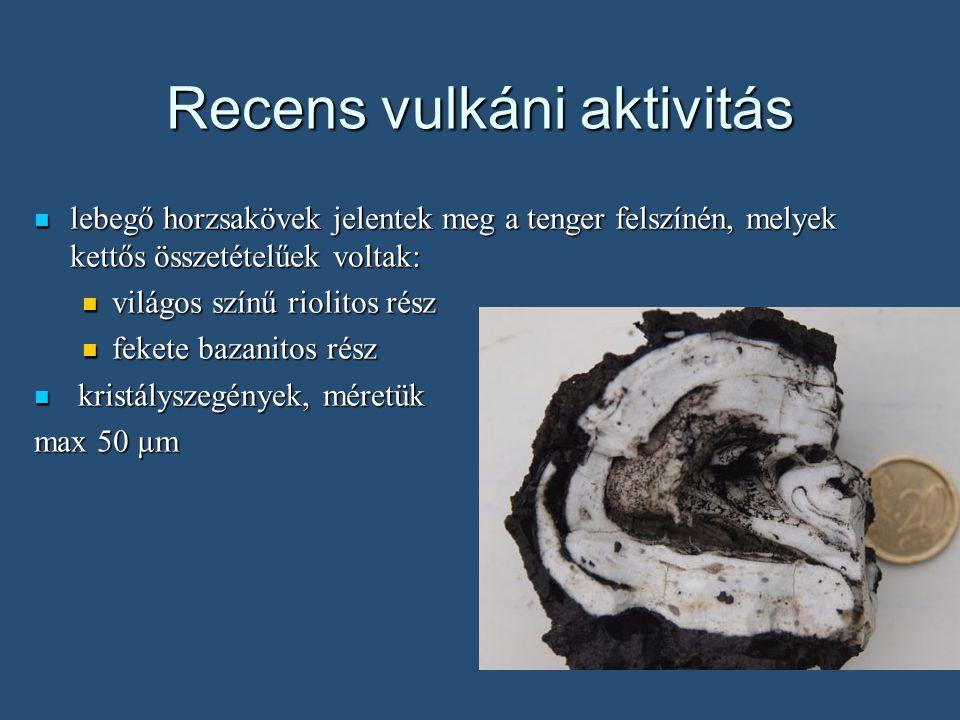 Recens vulkáni aktivitás lebegő horzsakövek jelentek meg a tenger felszínén, melyek kettős összetételűek voltak: lebegő horzsakövek jelentek meg a tenger felszínén, melyek kettős összetételűek voltak: világos színű riolitos rész világos színű riolitos rész fekete bazanitos rész fekete bazanitos rész kristályszegények, méretük kristályszegények, méretük max 50 µm