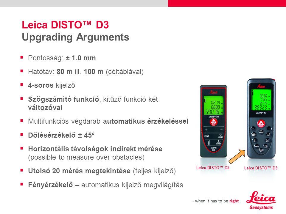 Leica DISTO™ D3 Upgrading Arguments Leica DISTO™ D2 Leica DISTO™ D3  Pontosság: ± 1.0 mm  Hatótáv: 80 m ill.