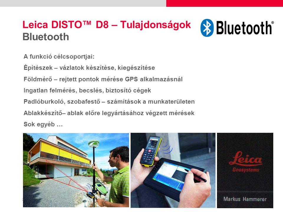 24 Leica DISTO™ D8 Szállítás Tok Leica DISTO™ D8 2x AA Elem + Használati utasítás, biztonsági előírások, Quickstart Guide, Gyártói Nyilatkozat M Csuklószíj Céltábla