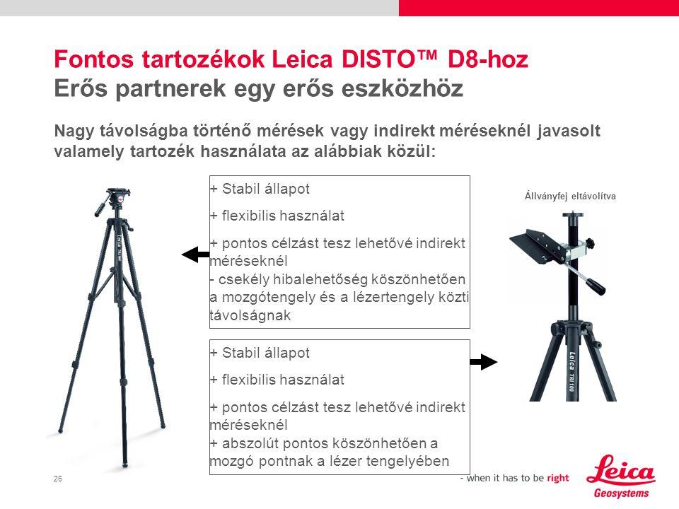 27 DASS / Garancia Felhasználóbarát szolgáltatások  2 év garancia minden Leica DISTO™ termékre  3 év garancia regisztrálás esetén a www.disto.com címen www.disto.com  Problémamentes csere drága javítási költség helyett