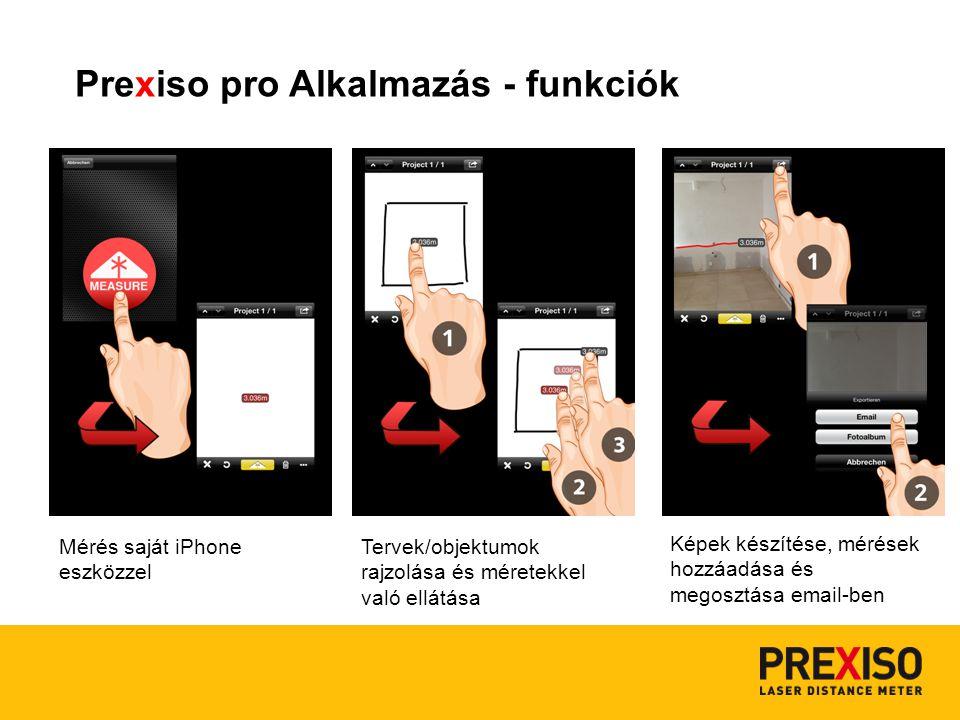 Prexiso pro Alkalmazás - funkciók Mérés saját iPhone eszközzel Tervek/objektumok rajzolása és méretekkel való ellátása Képek készítése, mérések hozzáadása és megosztása email-ben