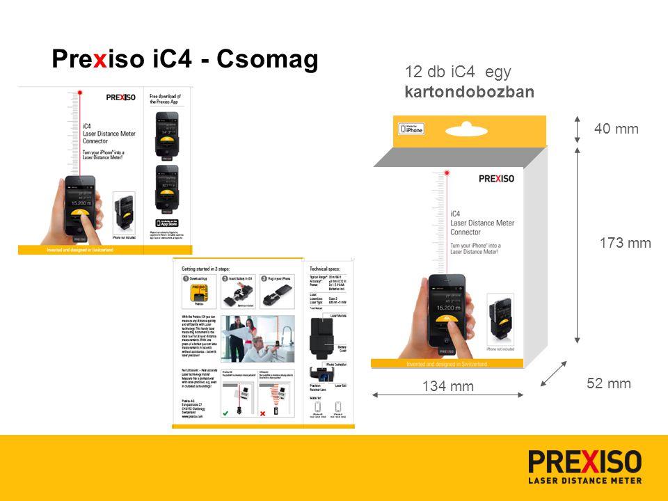 12 db iC4 egy kartondobozban 134 mm 173 mm 52 mm 40 mm Prexiso iC4 - Csomag