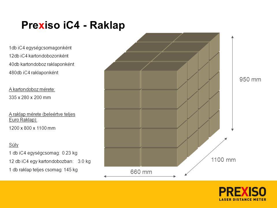 660 mm 1100 mm 1db iC4 egységcsomagonként 12db iC4 kartondobozonként 40db kartondoboz raklaponként 480db iC4 raklaponként A kartondoboz mérete: 335 x 280 x 200 mm A raklap mérete (beleértve teljes Euro Raklap): 1200 x 800 x 1100 mm Súly 1 db iC4 egységcsomag: 0.23 kg 12 db iC4 egy kartondobozban: 3.0 kg 1 db raklap teljes csomag: 145 kg 950 mm Prexiso iC4 - Raklap